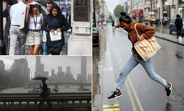 Two weeks' worth of rain will hit parts of UK today with 45mph winds