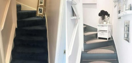 Woman renovates her dingy staircase into a Mrs Hinch-inspired hall for just £50 – and the transformation photos are impressive