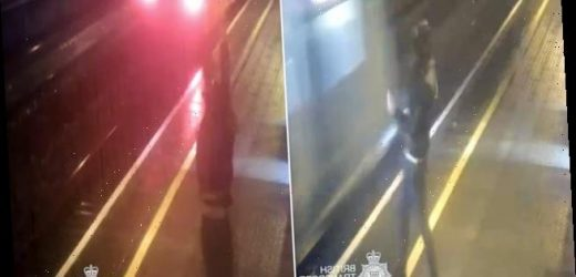 Man runs across rail tracks before jumping out of path of train
