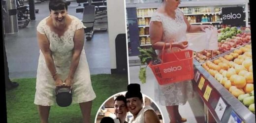 Frugal bride is so determined to get her money's worth that she wears her £1,000 wedding dress everywhere from the supermarket to the gym – The Sun