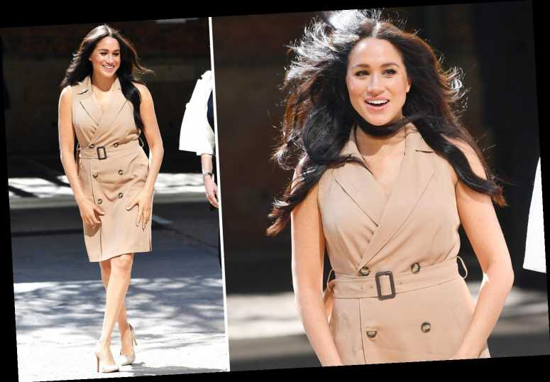Windswept Meghan Markle beams as she arrives at the University of Johannesburg ahead of reunion with Harry today