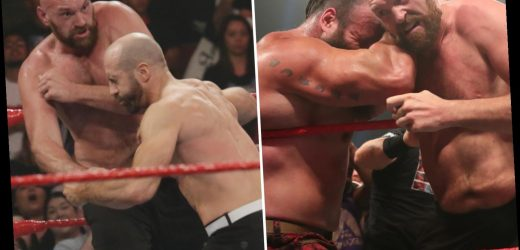 Watch explosive moment Tyson Fury KOs WWE star Cesaro after RAW went off air as Gypsy King's feud with Braun Strowman hots up – The Sun