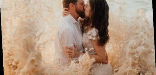 Couple's beach wedding photo shoot goes viral after ocean tide ruins bride's dress