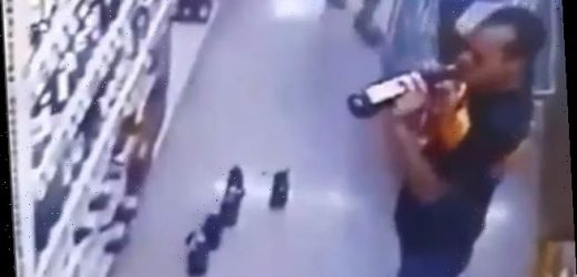 Shopper opens bottles of wine and swigs from them in the supermarket