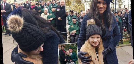 Soldier's granddaughter Poppie gets a birthday hug from Meghan Markle