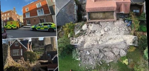 Wall at medieval Lewes Castle 'collapses' onto nearby buildings