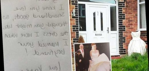 Jilted wife, 57, takes revenge on cheating love-rat husband by dumping wedding dress at mistress' door with sarky note