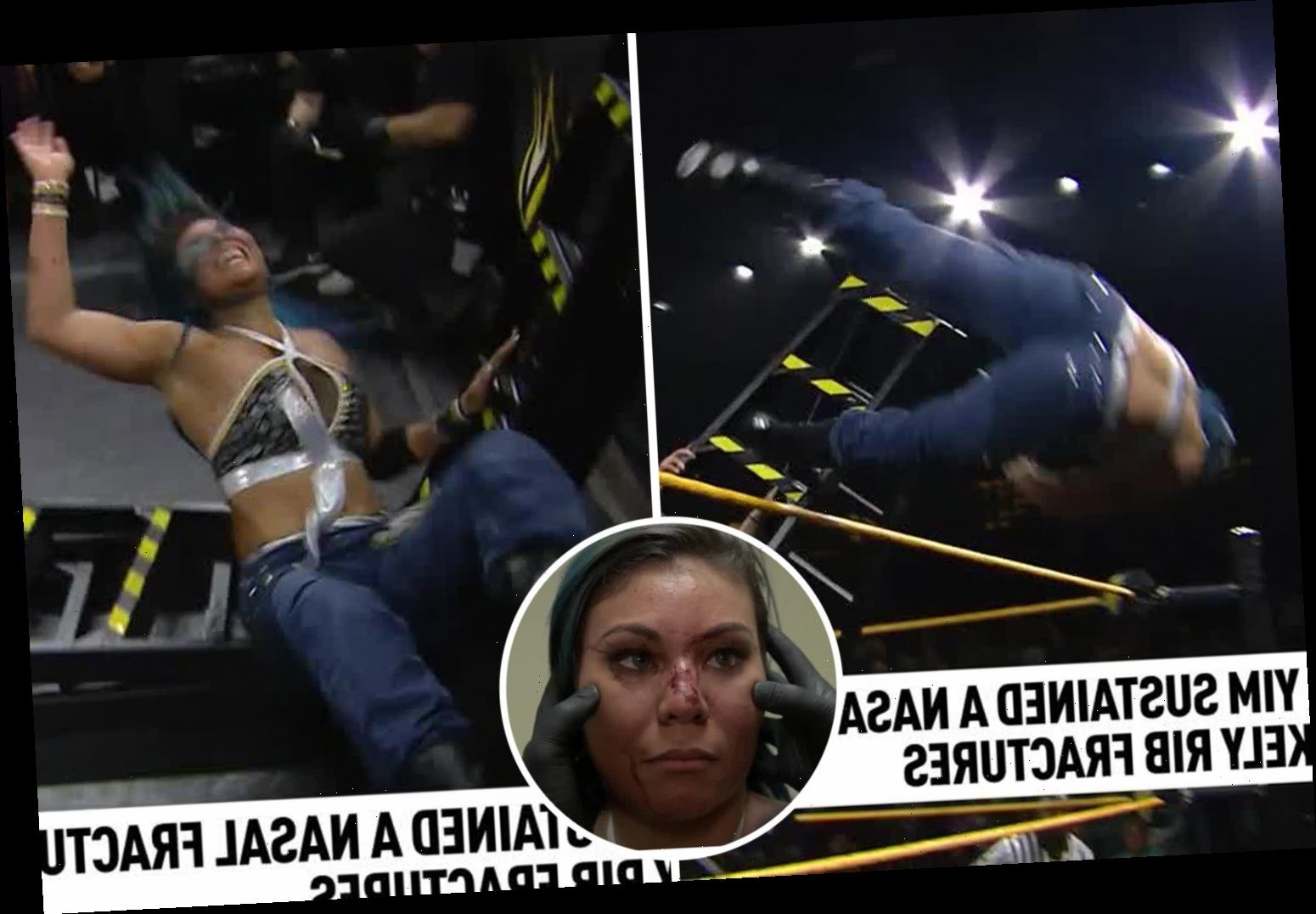 WWE star Mia Yim suffers horror facial injuries and suspected broken ribs in NXT defeat by Io Shirai – The Sun