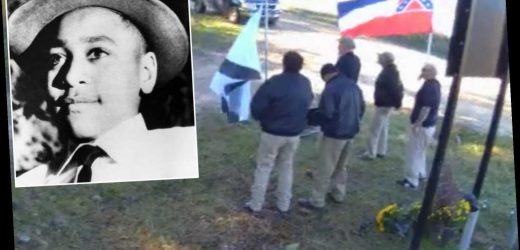 White nationalists film protest videos in front of Emmett Till memorial