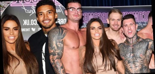 Katie Price cosies up to topless hunks and Love Island's Michael Griffiths as she judges male stripper auditions