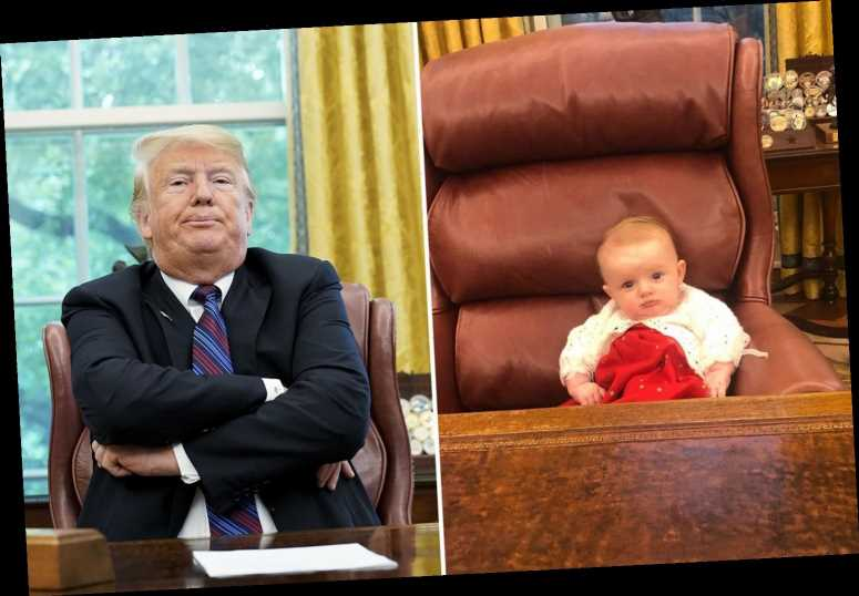 Donald Trump's adorable granddaughter Carolina Dorothy shows she's inherited granddad's hair in sweet Oval Office snap