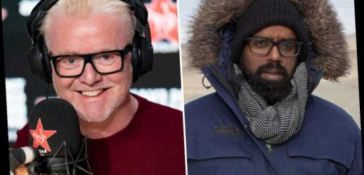 Romesh Ranganathan says he got caught in a sandstorm filming in the Sahara on Chris Evans' Virgin Radio Breakfast Show