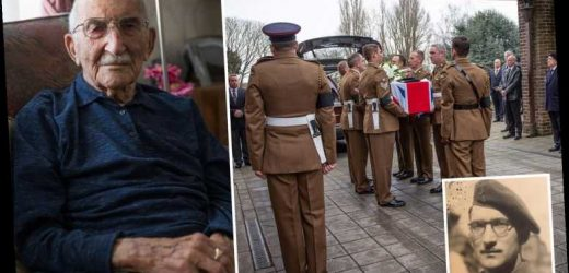 D-Day hero, 100, who received standing ovation by Queen and Trump is given amazing send off with 13-mile procession