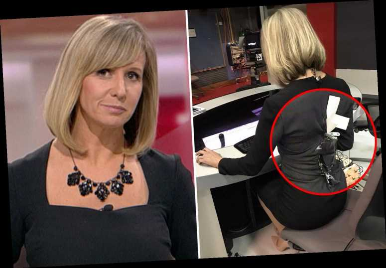 BBC presenter, 43, holds dress together with gaffer tape after it BURSTS OPEN moments before she goes live on air