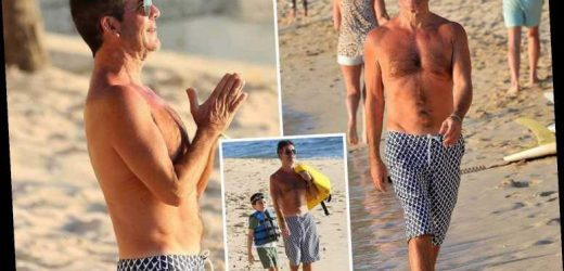 Simon Cowell looks thinner than ever as he shows off his toned torso while taking Eric, 5, jetskiing in Barbados