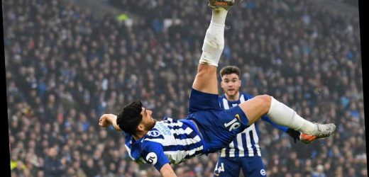 Fans go wild as Brighton star Jahanbakhsh scores 'goal of the decade' with stunning overhead kick against Chelsea – The Sun
