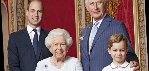 The Queen beams alongside cheeky Prince George, Charles & William as they mark the start of a new decade in new photo
