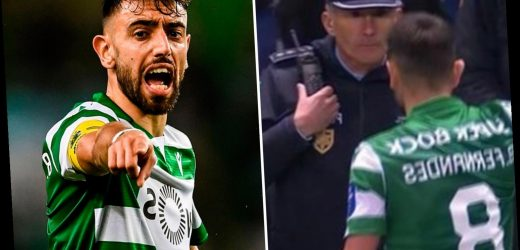Man Utd target Bruno Fernandes snubs Sporting fans, shoves a camera and argues with policeman amid transfer stalemate – The Sun