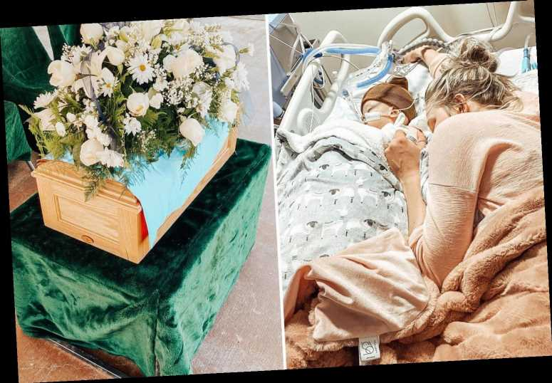 YouTuber Brittani Boren Leach shares pics of newborn son Crew's funeral after trolls accuse her of faking his illness