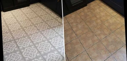 Woman overhauls her tired kitchen floor tiles using just an £8 stencil