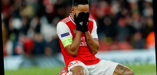 Distraught Arsenal star Aubameyang lies alone on pitch after missing last-minute sitter in devastating Olympiacos loss – The Sun