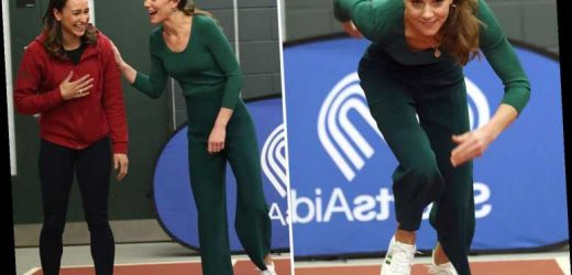 Kate Middleton wears £29.50 M&S trainers and £5.99 Zara culottes as she races Jessica Ennis-Hill for SportsAid