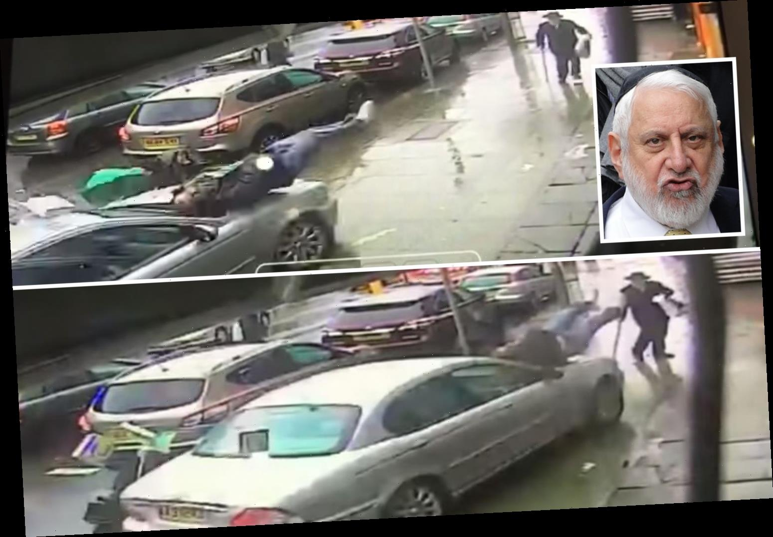 Moment rabbi, 75, mowed down two pedestrians and demolished a chemist's while helping a woman park her car