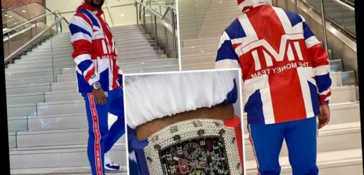 Floyd Mayweather proves he's not so skint with £200k diamond-encrusted watch while wearing Union Jack hoodie in London – The Sun