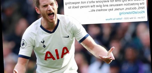 Tottenham star Vertonghen calls on people to be FINED for defying coronavirus clampdown measures and money to go to NHS – The Sun