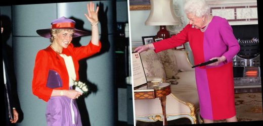 Queen Elizabeth's Color-Blocked Dress Resembles a Classic Princess Diana Look