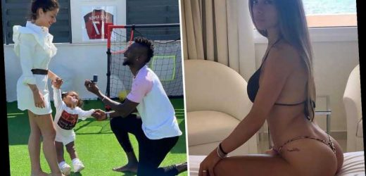 Romantic footballer proposes to stunning Wag during QUARANTINE on pitch at home in front of baby daughter – The Sun