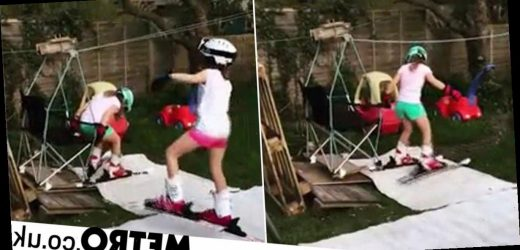 Dad builds ski slope and chair lift in garden to entertain kids in quarantine