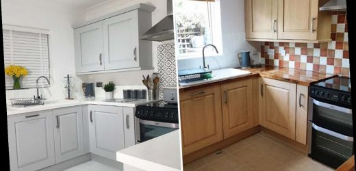 DIY fanatic transforms her kitchen for under £100 by painting EVERYTHING – including tiles, floors and worktops