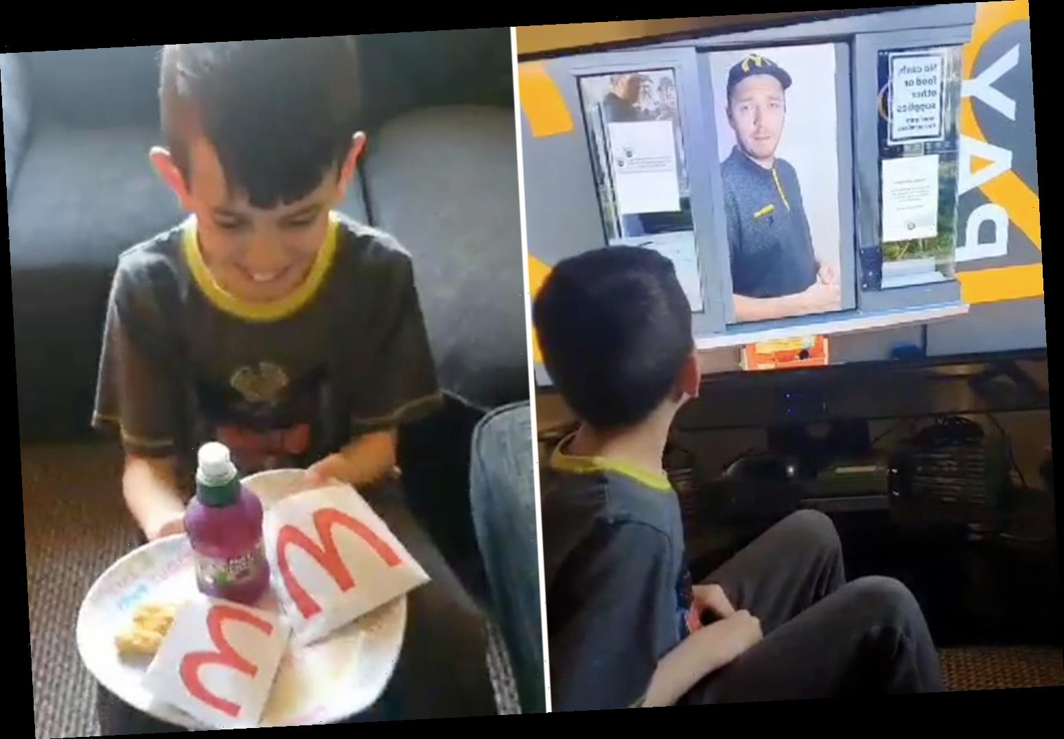 Mum recreates a McDonald's drive-through experience from home complete with look-a-like Happy Meals for her kids