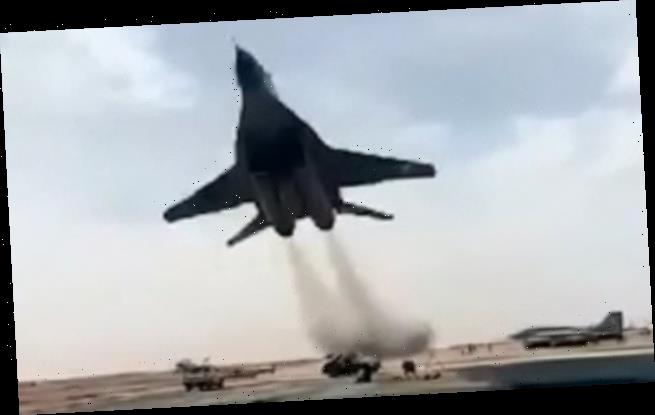 Fighter jet performs an ultra-low pass at Algerian Air Force base