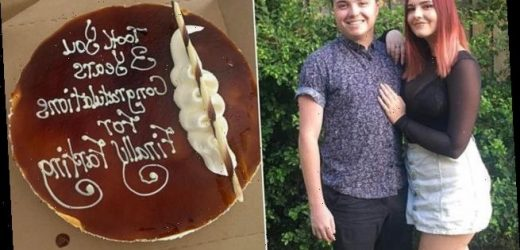 Girlfriend's first fart in front of partner  is celebrated with cake