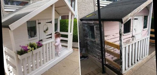 Mum completely transforms shabby Wendy house she got second hand with some old paint and charity shop bargains