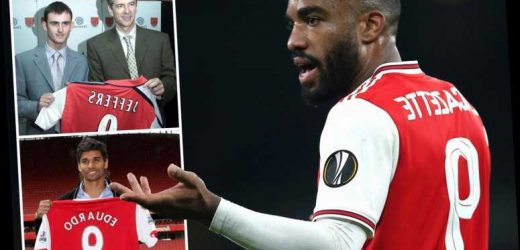 The curse of Arsenal's No9 shirt from 'wonderkid' Jeffers' flop £8m transfer to unlucky Eduardo… is Lacazette next? – The Sun