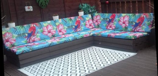 Mum turns £8 shower curtains into stunning seat coverings for her garden sofa and she didn't sew anything