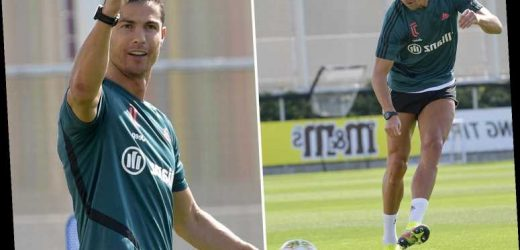 Cristiano Ronaldo looks in ripped shape during Juventus training before pulling off amazing trick shot – The Sun