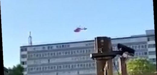 Child is rushed to hospital in an air ambulance after falling