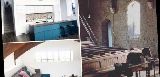 Couple transform run-down £85k methodist church into stunning family home now worth £300k