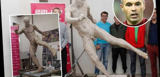 Andres Iniesta pokes fun at lewd nude statue of himself as he tweets thanks for putting pants on after cover-up – The Sun