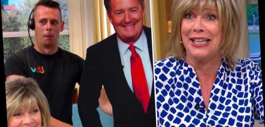 Ruth Langsford screams in terror as This Morning crew prank her by putting Piers Morgan cutout outside the ladies loo