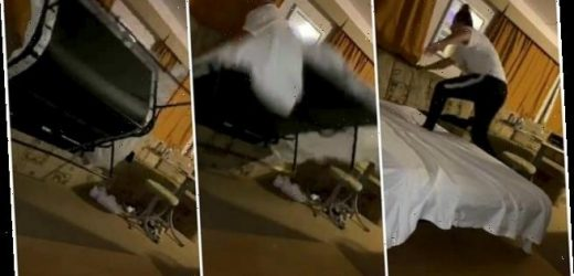 Hilarious moment woman is 'swallowed' by sofa bed when she steps on it