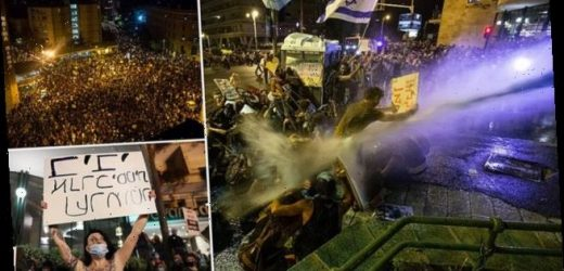 Israeli  protesters blasted with water in Netanyahu demonstration