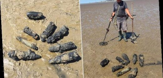 Bomb disposal team explodes 11 wartime explosives found on beach