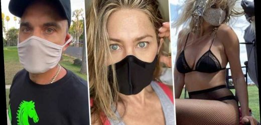 Can you guess the celebrities hiding behind these stylish coronavirus face masks?