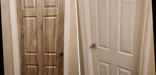 Woman transforms dull door using an oak vinyl from Wilkos – and it cost just £8