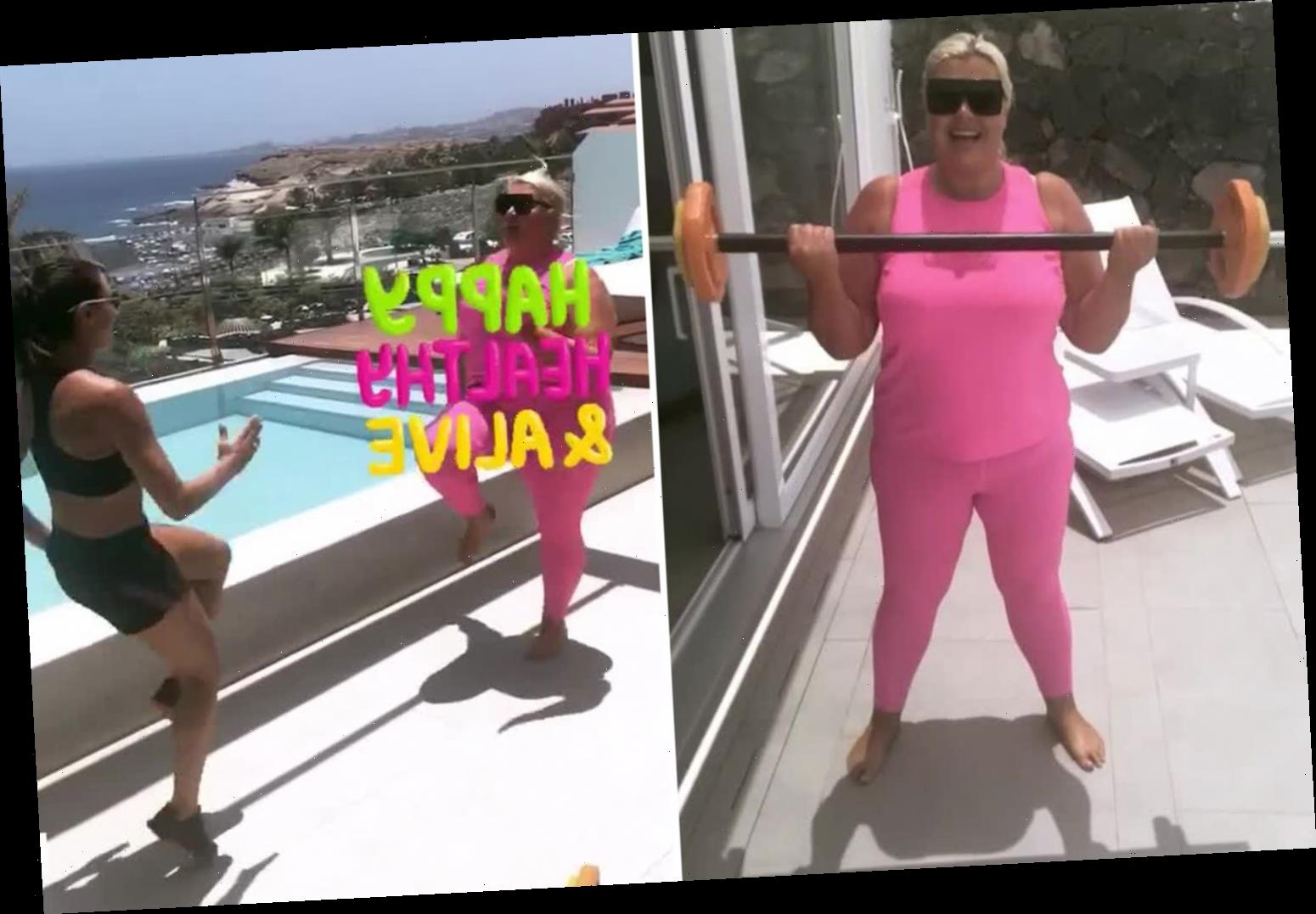 Gemma Collins reveals epic workout routine with deadlifts and squats as she exercises in Marbella